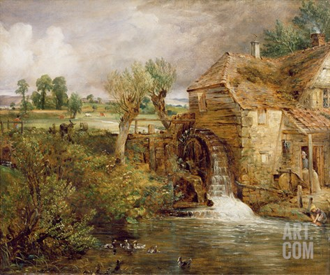 Mill at Gillingham, Dorset, 1825-26 Stretched Canvas Print