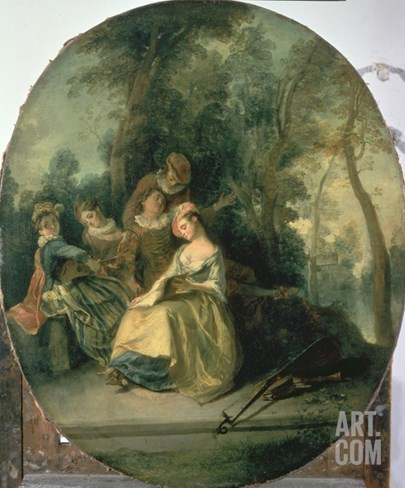 Concert in the Park, 1725 Stretched Canvas Print