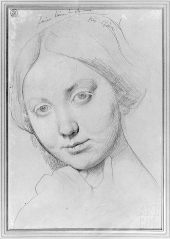 Louise De Broglie, Countess of Haussonville, C.1842 (Graphite on Paper) Stretched Canvas Print