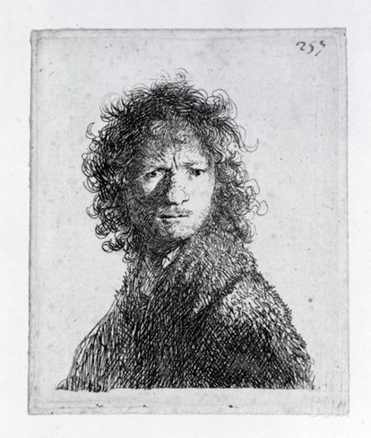 Self Portrait, 1630 (Etching) Stretched Canvas Print