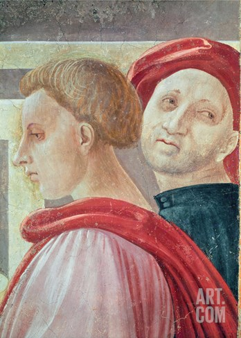 Heads of Two Men, from the Presentation of Mary in the Temple, 1433-34 (Fresco) (Detail) Stretched Canvas Print