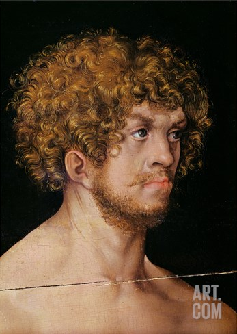 Adam and Eve, Detail of Adam's Head (Oil on Panel) (Detail of 159264) Stretched Canvas Print