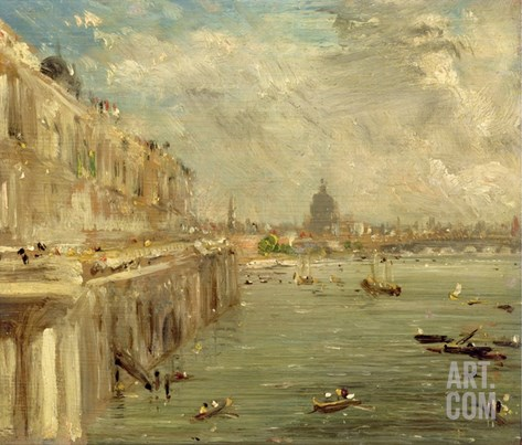 Somerset House Terrace from Waterloo Bridge, C.1819 (Oil on Panel) Stretched Canvas Print