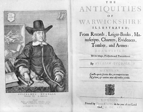 Titlepage and Frontispiece to 'The Antiquities of Warwickshire' by William Dugdale, 1656 Stretched Canvas Print