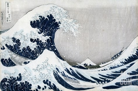 The Great Wave of Kanagawa, from the Series '36 Views of Mt. Fuji' ('Fugaku Sanjuokkei') Stretched Canvas Print