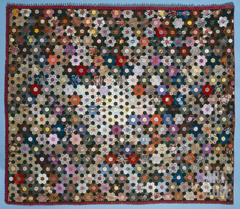 Optical Flower Puzzle Quilt, 1854 (Silk) Stretched Canvas Print