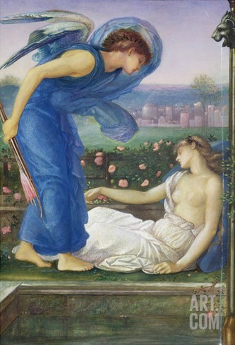 Cupid and Psyche, C.1865 (W/C, Bodycolour and Pastel on Paper Mounted on Linen) Stretched Canvas Print