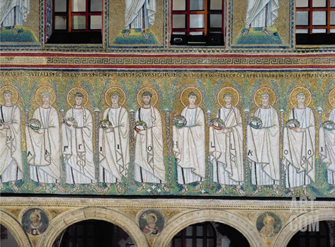 Group of Saints and Martyrs (Mosaic) Stretched Canvas Print
