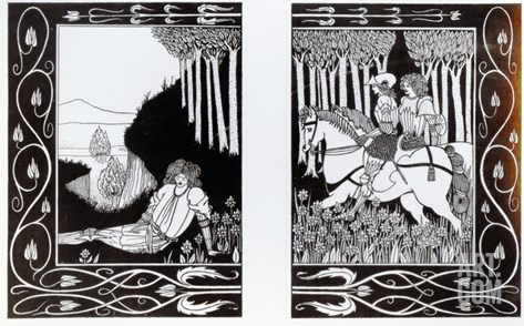 How King Mark and Sir Dinadan Heard Sir Palomides, Illustration from 'Le Morte D'Arthur' Stretched Canvas Print