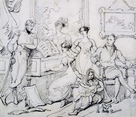 A Family Group around a Piano (Pen and Brown Ink with Graphite on Paper) Stretched Canvas Print