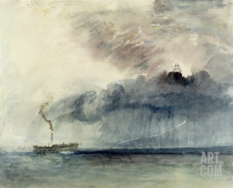 Steamboat in a Storm, C.1841 (W/C and Pencil on Paper) Stretched Canvas Print