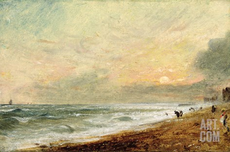 Hove Beach, C.1824 (Oil on Paper on Panel) Stretched Canvas Print