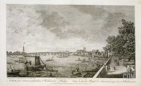 A View from Somerset Gardens to Westminster Bridge, Engraved by Johann Sebastian Mueller Stretched Canvas Print