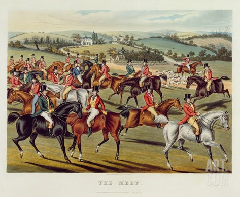 The Meet', Plate I from 'Fox Hunting', 1838 (Hand-Coloured Aquatint) Stretched Canvas Print