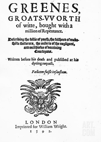 Titlepage to 'Greene's Groats-Worth of Wit', Attributed to Robert Greene, Published in 1592 Stretched Canvas Print