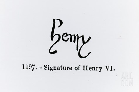 Signature of Henry Vi (1421-71) (Litho) (B/W Photo) Stretched Canvas Print