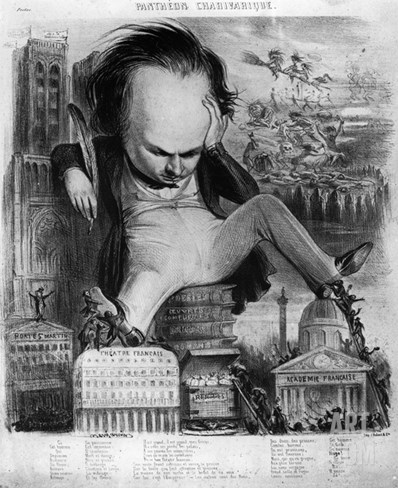 Caricature of Victor Hugo (1802-85) from 'Le Pantheon Charivarique', 19th Century (Litho) Stretched Canvas Print