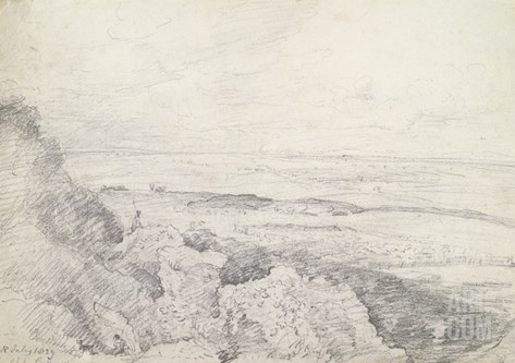 Salisbury Plain from Old Sarum, 1829 (Graphite on Paper) Stretched Canvas Print