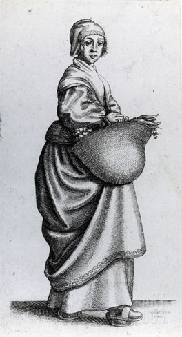 Maid Returning from Market, 1640 (Etching) Stretched Canvas Print