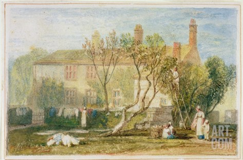 Steeton Manor House, Near Farnley, C.1815-18 (W/C on Paper) Stretched Canvas Print