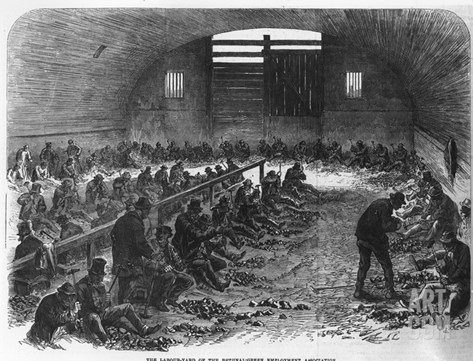 The Labour Yard of the Bethnal Green Employment Association, from 'The Illustrated London News' Stretched Canvas Print