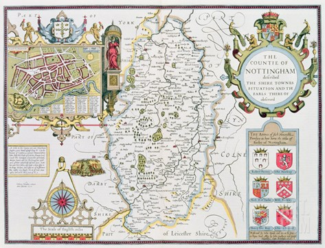 The Countie of Nottingham, Engraved by Jodocus Hondius (1563-1612) Stretched Canvas Print