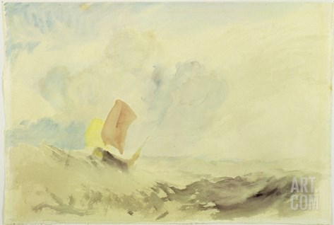A Sea Piece - a Rough Sea with a Fishing Boat, 1820-30 (W/C on Paper) Stretched Canvas Print