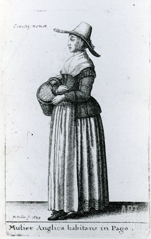 English Country Woman, 1643 (Etching) Stretched Canvas Print