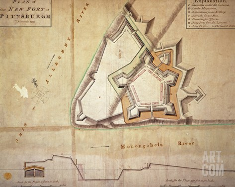 Plan of the New Fort at Pittsburgh, November 1759 (Hand Coloured Engraving) Stretched Canvas Print