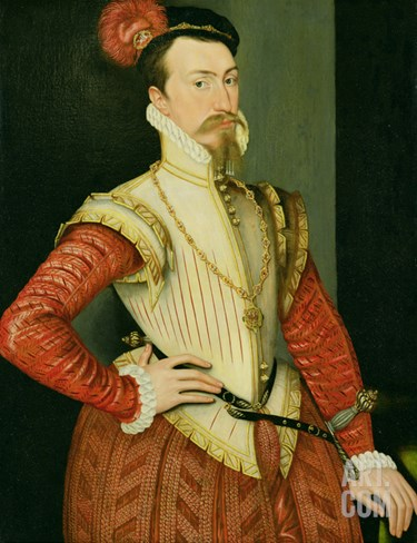 Robert Dudley (1532-88) 1st Earl of Leicester, C.1560S (Oil on Panel) Stretched Canvas Print