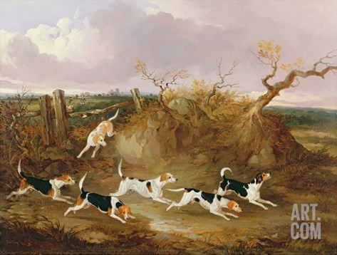 Beagles in Full Cry, 1845 Stretched Canvas Print