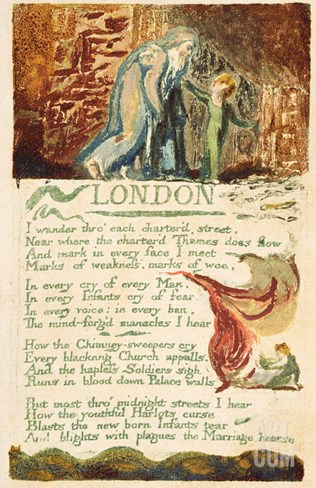 London', Plate 38 from 'songs of Experience', 1794 (Colour Printed Etching with W/C) Stretched Canvas Print