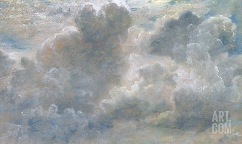 Study of Cumulus Clouds, 1822 (Oil on Paper Laid on Canvas) Stretched Canvas Print