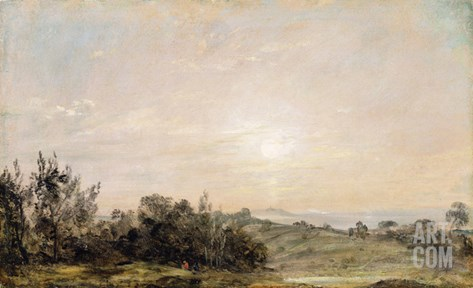Hampstead Heath, Looking Towards Harrow, 1821-22 (Oil on Paper Laid on Canvas) Stretched Canvas Print