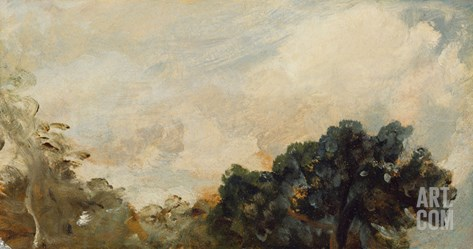 Cloud Study with Trees, 1821 (Oil on Paper Laid Down on Board) Stretched Canvas Print