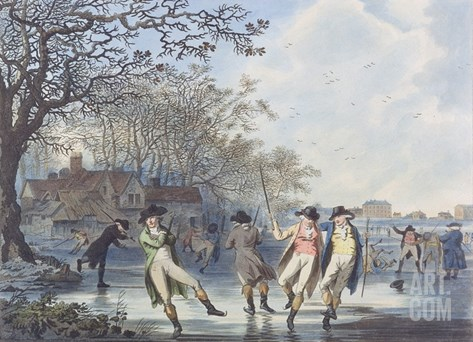 Winter Amusement: a View in Hyde Park from the Moated House, 1787 (Aquatint) Stretched Canvas Print