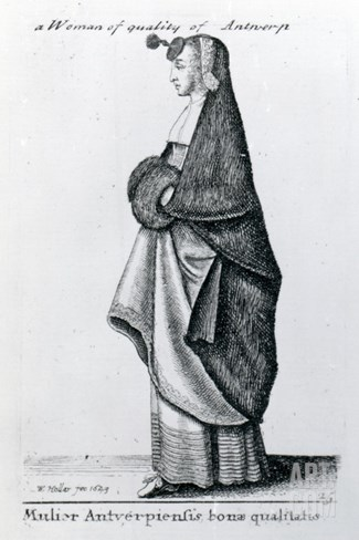 Woman of Quality from Antwerp, 1643 (Etching) Stretched Canvas Print