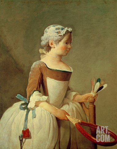 Girl with Racket and Shuttlecock, c.1740 Stretched Canvas Print
