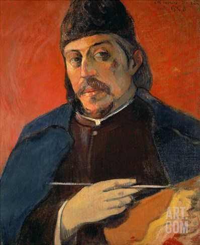 Self Portrait with a Palette, 1893-94 Stretched Canvas Print