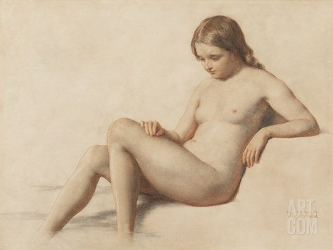 Study of a Nude, 1859 (Pencil on Paper) Stretched Canvas Print