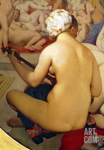 The Turkish Bath, Detail of the Musician, 1863 (Detail) Stretched Canvas Print