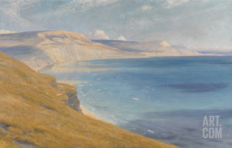 Sea and Sunshine, Lyme Regis, 1919 (Oil on Board) Stretched Canvas Print