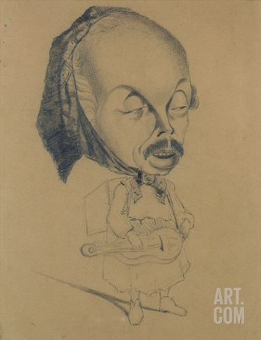 Adolphe D'Ennery (1811-99) after Nadar, 1855-60 (Black Crayon on Paper) Stretched Canvas Print