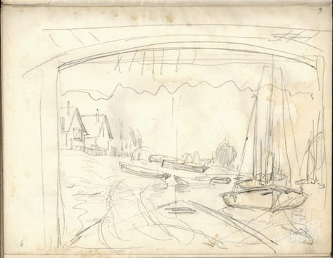 On the Boat Studio, Facing the Petit-Gennevilliers (Pencil on Paper) Stretched Canvas Print