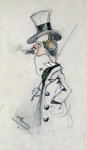 Dandy with a Cigar, 1857 (Pencil on Paper) Stretched Canvas Print
