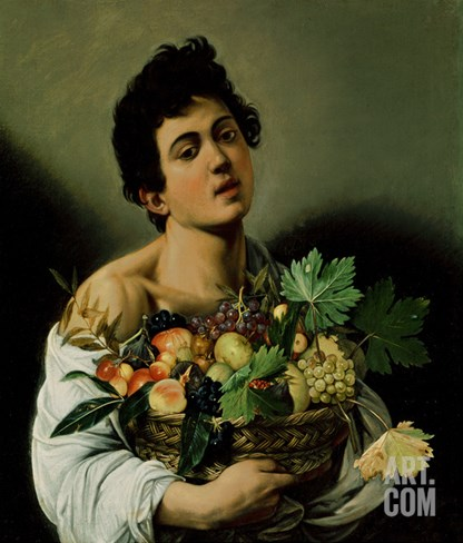 Youth with a Basket of Fruit, 1594 (Detail) Stretched Canvas Print