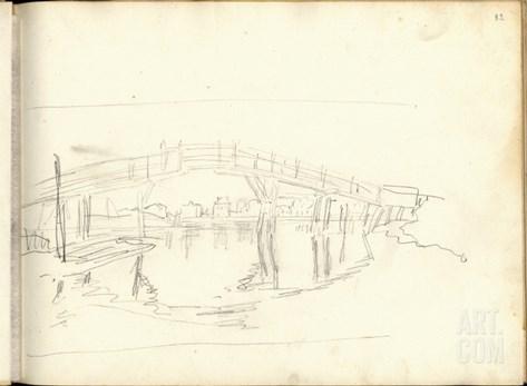 Footbridge on the Zaan Near Zaandam (Pencil on Paper) Stretched Canvas Print