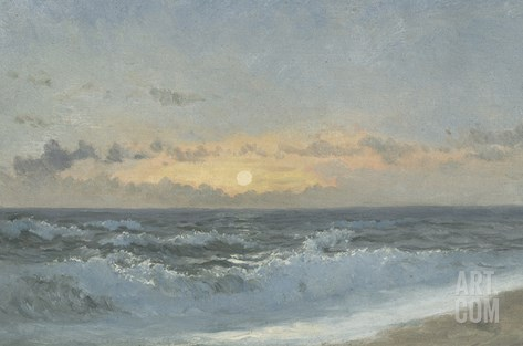 Sunset over the Sea, 1900 (Oil on Board) Stretched Canvas Print