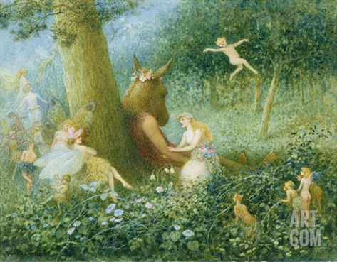 A Midsummer Night's Dream, 1895 (W/C with Bodycolour on Paper) Stretched Canvas Print