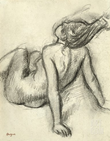 Woman Having Her Hair Styled (Charcoal on Paper) Stretched Canvas Print